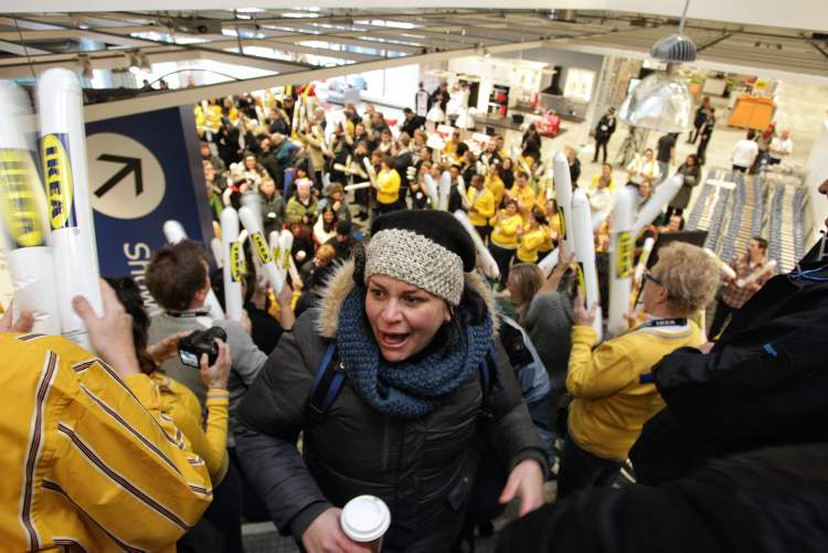 Shoppers flooded into IKEA this morning, to a thunder-stick welcome from staff,  as the superstore opened its doors in Winnipeg. Hundreds of people lined up overnight waiting for the grand opening.