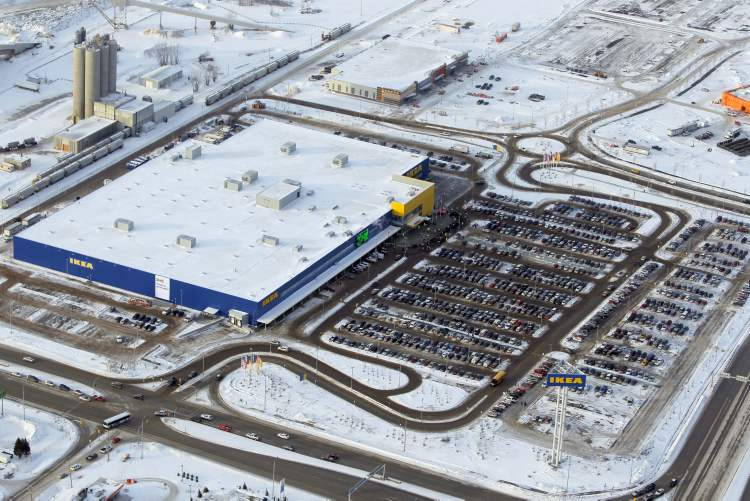 The IKEA parking lot is packed on opening day.