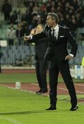 Basel's coach gestures during their Champions League group B soccer match against Ludogorets at Vassil Levski stadium in Sofia, Wednesday, Oct. 22, 2014. (AP Photo/Valentina Petrova)