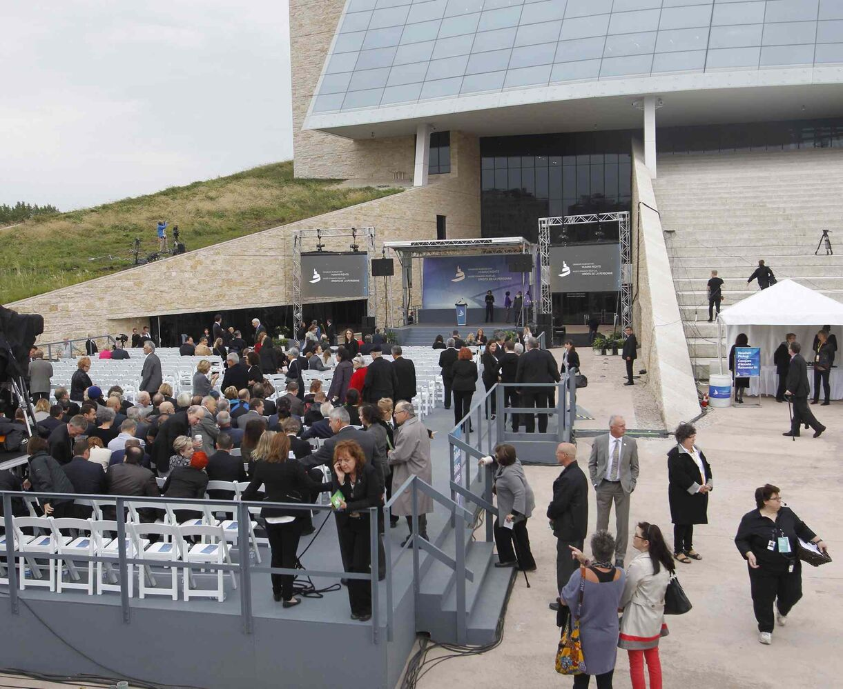 People arriving for the Canadian Museum for Human Rights for the official opening ceremonies Friday.   (WAYNE GLOWACKI / WINNIPEG FREE PRESS)