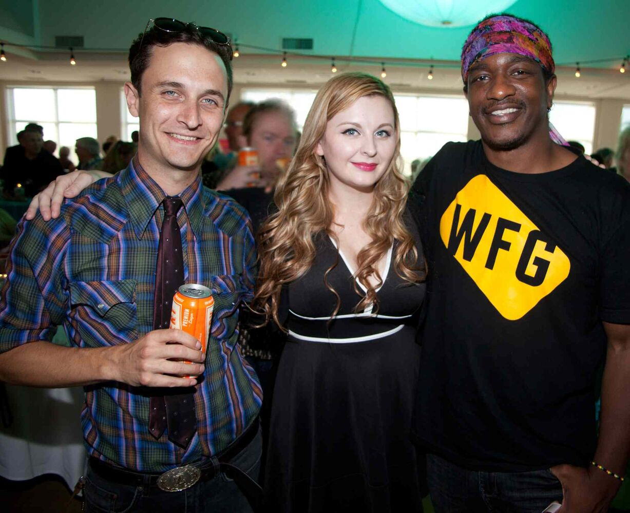 An opening reception for the 15th annual Gimli Film Festival was held Wednesday, July 22, 2015 at the Waterfront Centre. Pictured, from left, are Aaron Zeghers, Alex Kristiansen and Ben Williams.  (JOHN JOHNSTON FOR THE WINNIPEG FREE PRESS)
