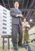 frank gunn / the canadian pressFederal Finance Minister Joe Oliver stands in his new  budget shoes in Toronto on Monday.