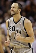 San Antonio Spurs' Manu Ginobili (20), of Argentina, reacts during the second half in Game 2 of the Western Conference finals NBA basketball playoff series against the Memphis Grizzlies, Tuesday, May 21, 2013, in San Antonio. (AP Photo/Eric Gay)