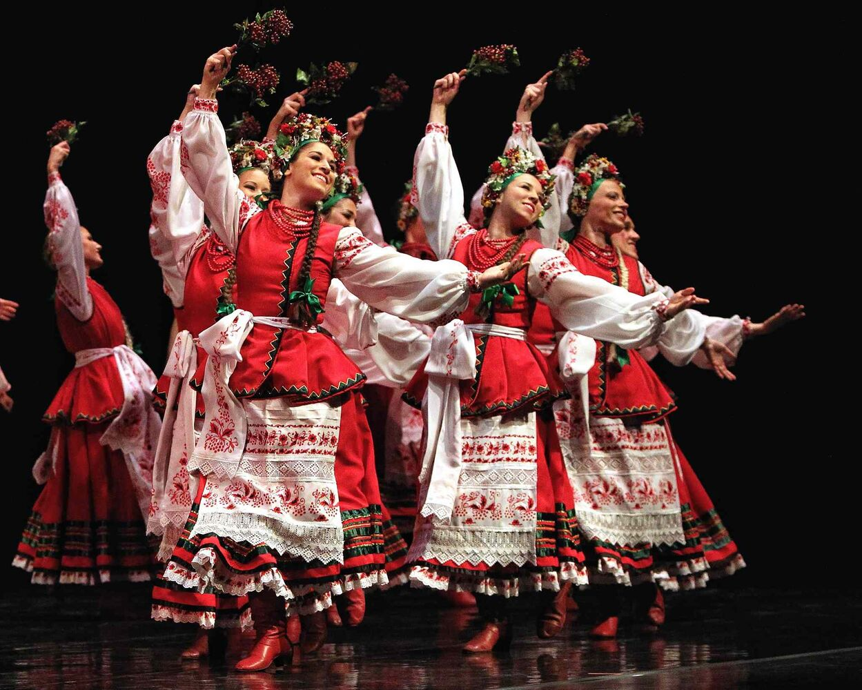 Members of the Rusalka Ukrainian dance troupe perform during their 50th anniversary gala at the Centennial Concert Hall Sunday afternoon. (MIKE DEAL / WINNIPEG FREE PRESS)