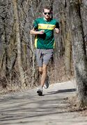 David Richert, a race-car driver in Europe's Formula Renault 2.0 series, keeps fit by running in Bois-des-esprits urban forest.