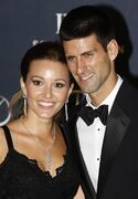 FILE - In this Feb. 6, 2012, file photo, tennis player Novak Djokovic, right, arrives with his then-girlfriend Jelena Ristic for the Laureus World Sports Awards in London. The top-ranked tennis player tweeted that he and his wife, Jelena, were celebrating the birth of their first child _ a boy named Stefan.