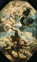 "This undated image provided by the Detroit Institute of Arts shows Tintoretto's ""The Dreams of Men,"" a mid-16th century oil on canvas installed on a ceiling at the museum in Detroit. The ceiling was designed specifically for the piece, and the Italian government made it a condition of sale that the painting could never leave the building. The museum's holdings were at one point threatened with a sale to help fund Detroit's pension obligations, but finalization of the city's bankruptcy last week included a deal that protects the artwork. (AP Photo/Detroit Institute of Arts"