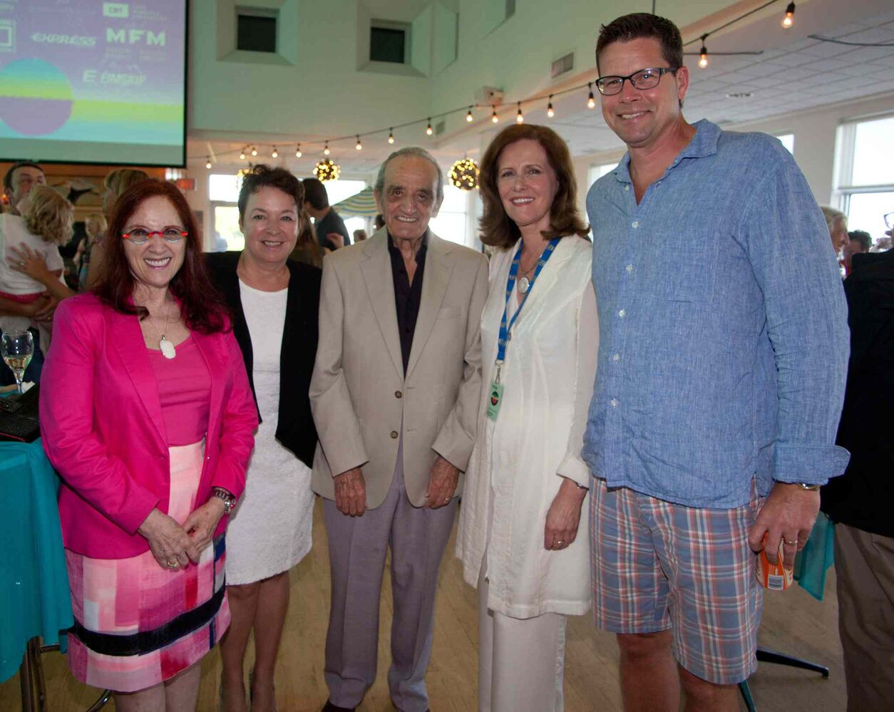 An opening reception for the 15th annual Gimli Film Festival was held Wednesday, July 22, 2015 at the Waterfront Centre. Pictured, from left, are Naomi Levine, Michelle Aitkenhead, Art Mauro, Sen. Janis Johnson and David Filmon.  (JOHN JOHNSTON FOR THE WINNIPEG FREE PRESS)