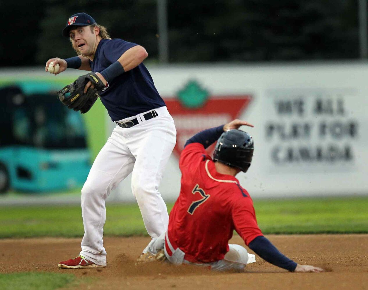 Winnipeg Goldeyes infielder #9 Brock Bond takes aim at first for the double play in the top of the first inning Wednesday evening at Shaw Park. (Phil Hossack / Winnipeg Free Press)