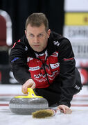 Jeff Stoughton tosses a rock in the Safeway Championship at Westman Place.