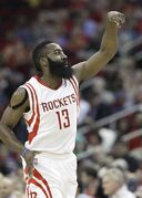 Houston Rockets' James Harden gestures after hitting a 3-point shot against the Memphis Grizzlies in the first half of an NBA basketball game Wednesday, March 4, 2015, in Houston. (AP Photo/Pat Sullivan)
