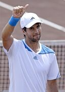 Fernando Verdasco of Spain gives a thumbs-up after beating Santiago Giraldo of Colombia 6-4, 7-5 in their semifinal match at the U.S. Men's Clay Court Championship, Saturday, April 12, 2014, in Houston. Verdasco will face Nicolas Almagro in the finals. (AP Photo/Pat Sullivan)