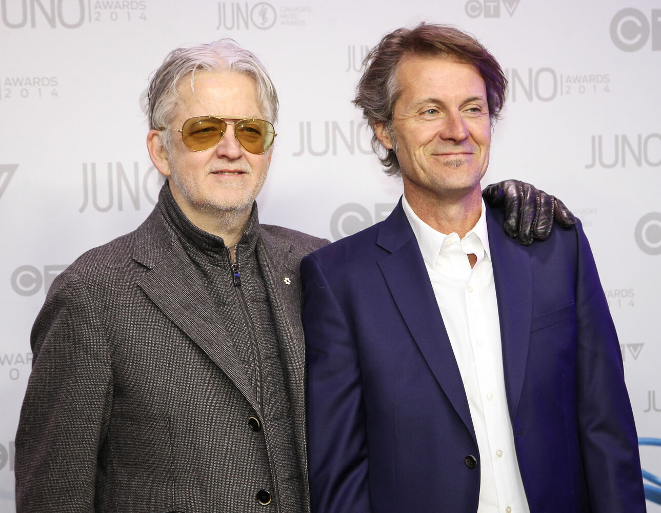 Greg Keelo and Jim Cuddy of Blue Rodeo on the 2014 Juno Awards red carpet.