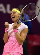 Lucie Safarova of the Czech Republic celebrates as she defeats Carla Suarez Navarro of Spain during the semifinal of the WTA Qatar Ladies Open in Doha, Qatar, Friday, Feb. 27, 2015. (AP Photo/Osama Faisal)