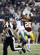 Dallas Cowboys wide receiver Terrance Williams (83) misses a reception as Washington Redskins cornerback Bashaud Breeland (26) defends during the first half of an NFL football game, Monday, Oct. 27, 2014, in Arlington, Texas. (AP Photo/Brandon Wade)