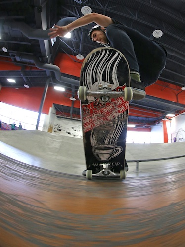Jared Arnason, 21, warms up prior to playing a game of S-K-A-T-E at The Edge Skatepark. The game is similar to playing horse. (TREVOR HAGAN / WINNIPEG FREE PRESS)
