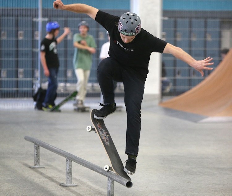 Jared Arnason, 21, works on some tricks prior to playing a game of S-K-A-T-E at The Edge Skatepark. The game is similar to playing horse. (TREVOR HAGAN / WINNIPEG FREE PRESS)
