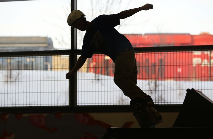 A skateboarder at The Edge Skatepark.