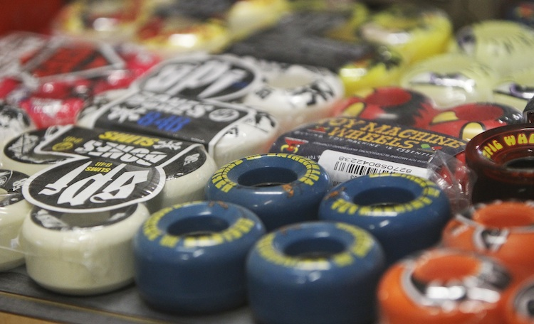 Skateboard wheels are available for sale on-site.