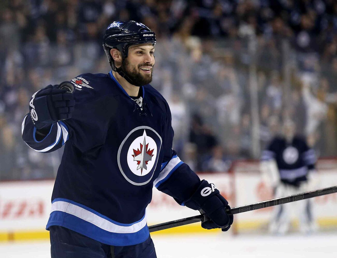 Winnipeg Jets' Zach Bogosian (44) celebrates his second-period goal against the Toronto Maple Leafs at MTS Centre Saturday. (Trevor Hagan / Winnipeg Free Press)