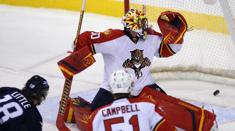 Florida Panthers' goalie Scott Clemmensen watches the OT winner at MTS Centre in Winnipeg Tuesday night.