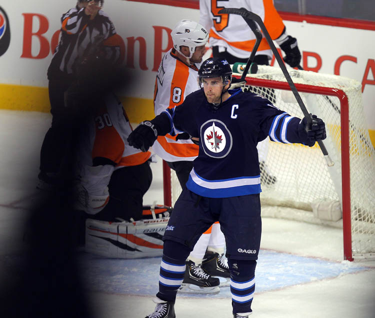 Andrew Ladd, Winnipeg Jets Captain, celebrates his first goal of two goals against the Flyers Tuesday night at MTS Centre.
