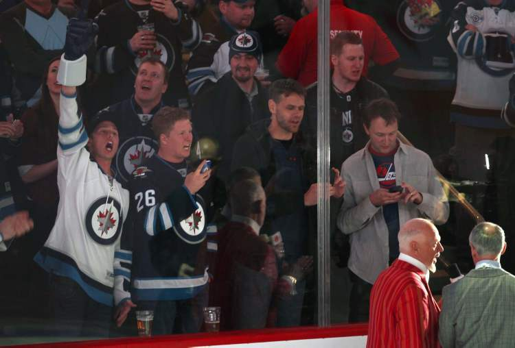 CBC broadcasters Ron MacLean and Don Cherry during pre-game of Pittsburgh Penguins vs Winnipeg Jets. The Jets lost the game 3-1.    (JOE BRYKSA / WINNIPEG FREE PRESS)