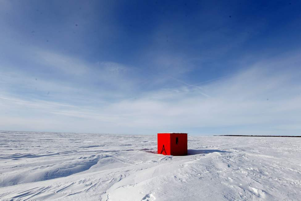 These ice fishing huts are located in Balsam Bay on Lake Winnipeg. Feb 20, 2013  BORIS MINKEVICH / WINNIPEG FREE PRESS (Boris Minkevich)