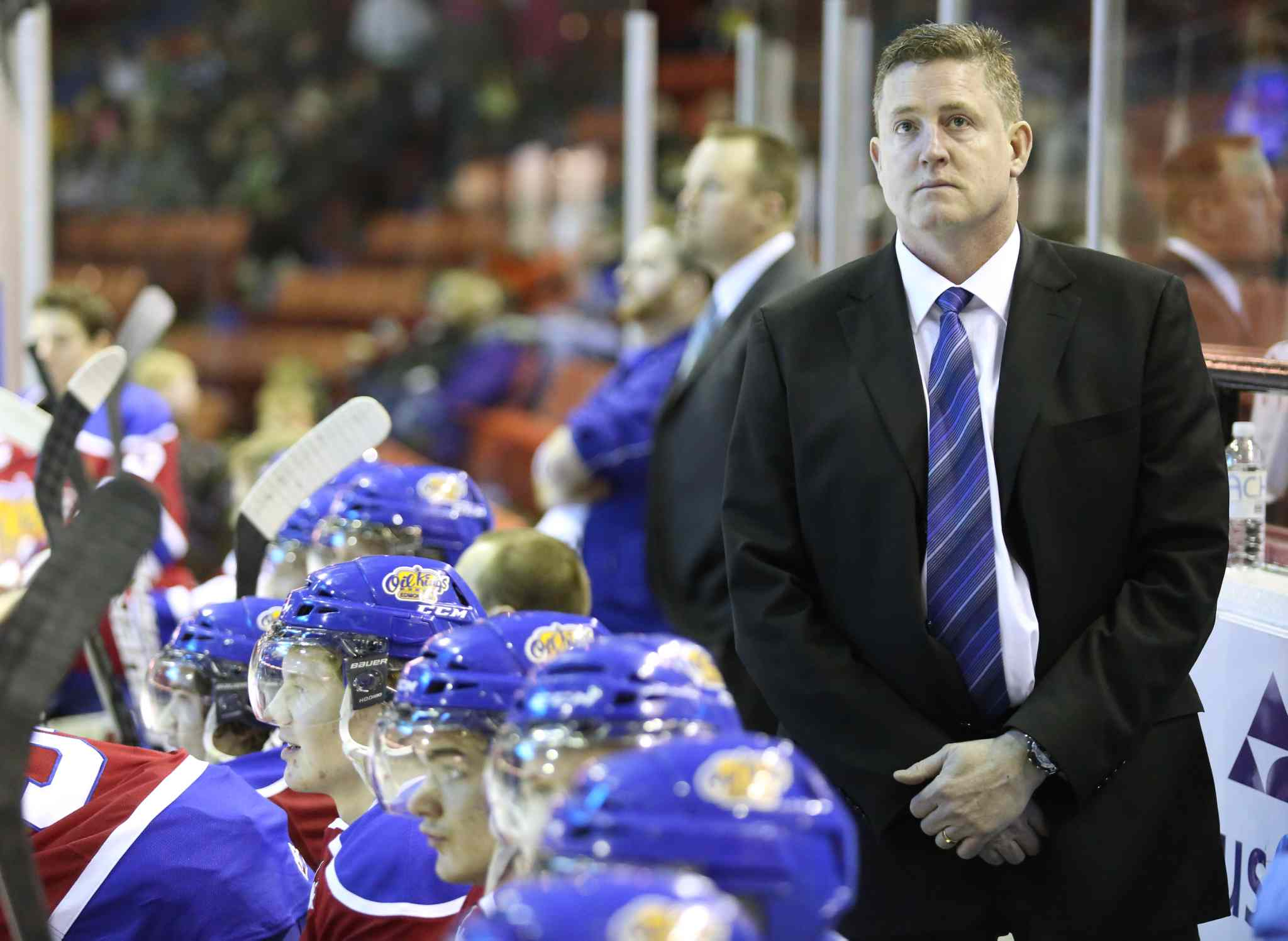 Edmonton Oil Kings head coach Derek Laxdal behind the bench at a game against the Brandon Wheat Kings.
