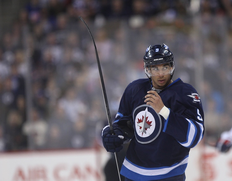Evander Kane waits for the play to begin during the second period of Friday night's game against the Washington Capitals.  (JOE BRYKSA / WINNIPEG FREE PRESS)