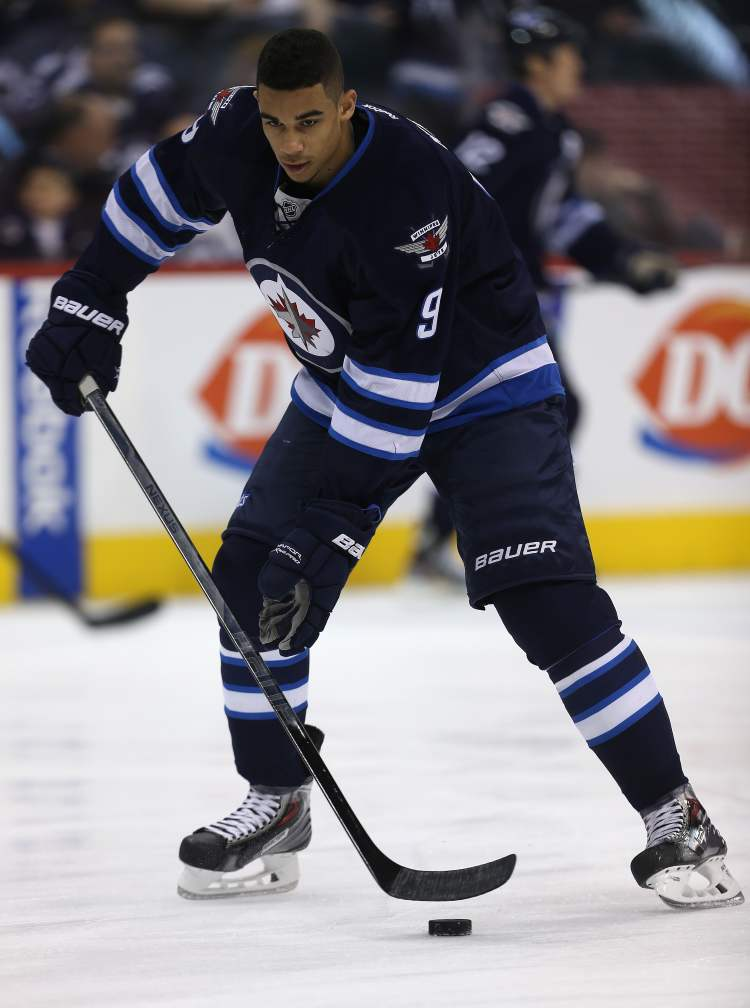 Winnipeg Jets' Evander Kane skates during the warmup. (TREVOR HAGAN / WINNIPEG FREE PRESS)