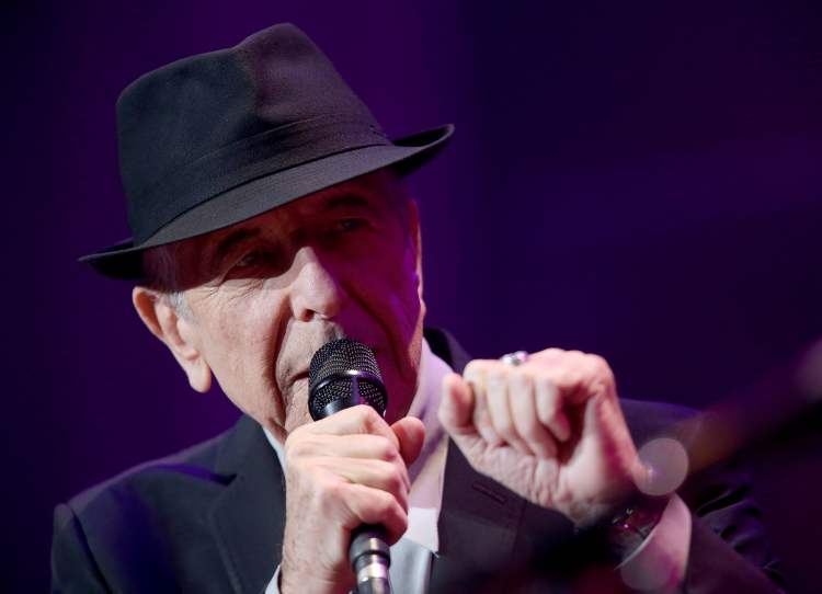 Leonard Cohen at the MTS Centre Friday. (TREVOR HAGAN / WINNIPEG FREE PRESS)