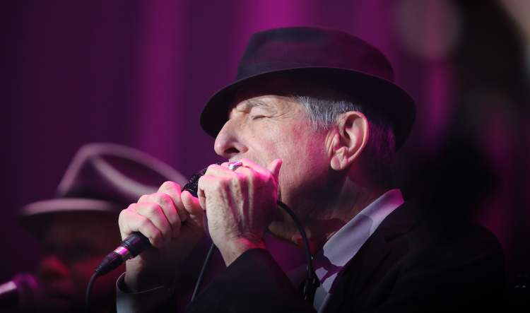 Leonard Cohen performs at the MTS Centre Friday. (TREVOR HAGAN / WINNIPEG FREE PRESS)