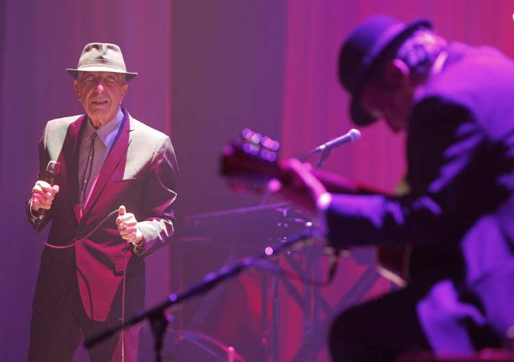 Leonard Cohen and his band perform in 2013 at the MTS Centre. (TREVOR HAGAN / WINNIPEG FREE PRESS)