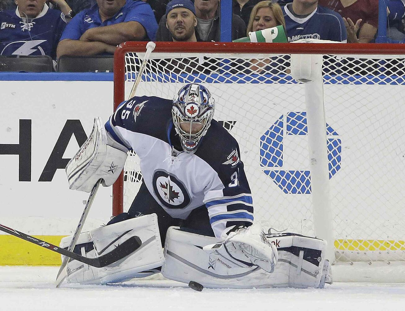 Winnipeg Jets goalie Al Montoya grabs a shot by the Tampa Bay Lightning during the third period. (Chris O'Meara / The Associated Press)