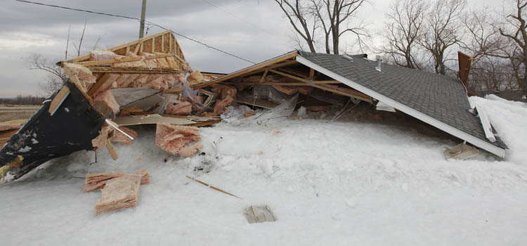 Roofs were sheared off by the force of the ice. (John Woods / Winnipeg Free Press)