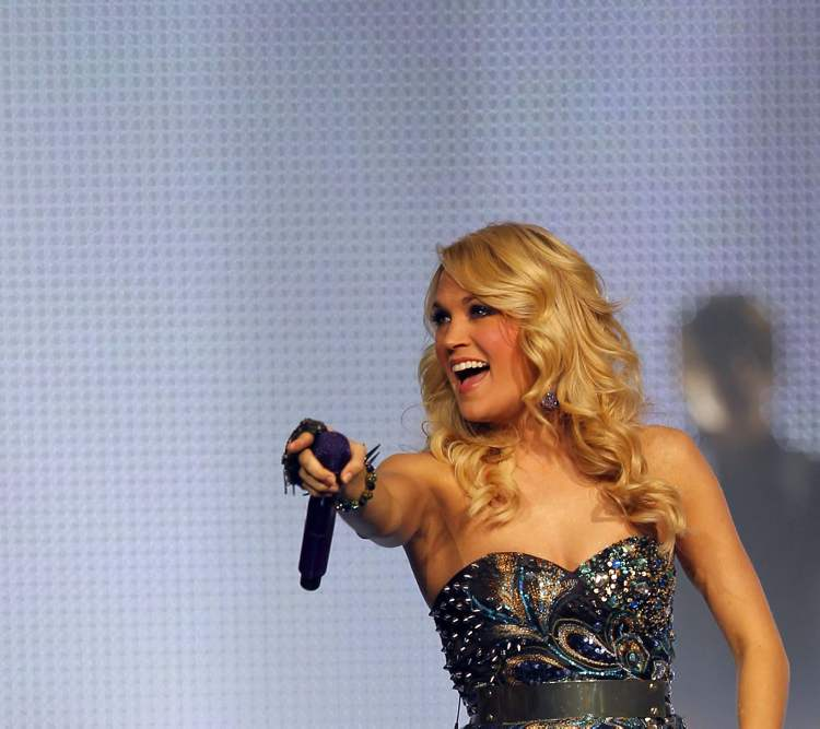 Carrie Underwood, pointing to the crowd.