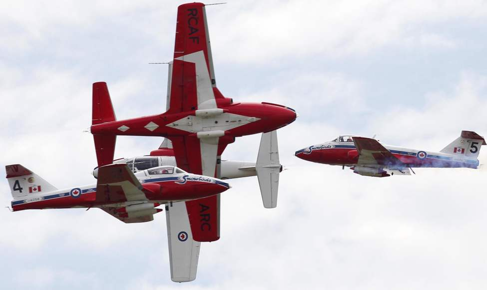The Snowbirds flying team performs a show in Portage la Prairie Friday afternoon. May 24, 2013  BORIS MINKEVICH / WINNIPEG FREE PRESS