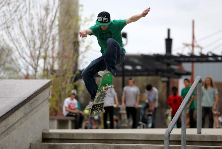 Looking good in the skateboarding competition during the Skate4Cancer event at The Forks Saturday.