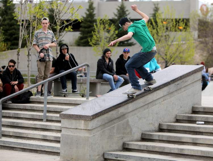 A participant in the skateboarding competition during the Skate4Cancer event at The Forks Saturday. (TREVOR HAGAN / WINNIPEG FREE PRESS)