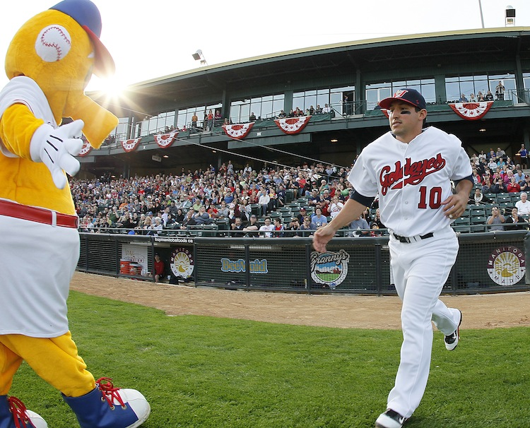 Amos Ramon of the Winnipeg Goldeyes takes the field.