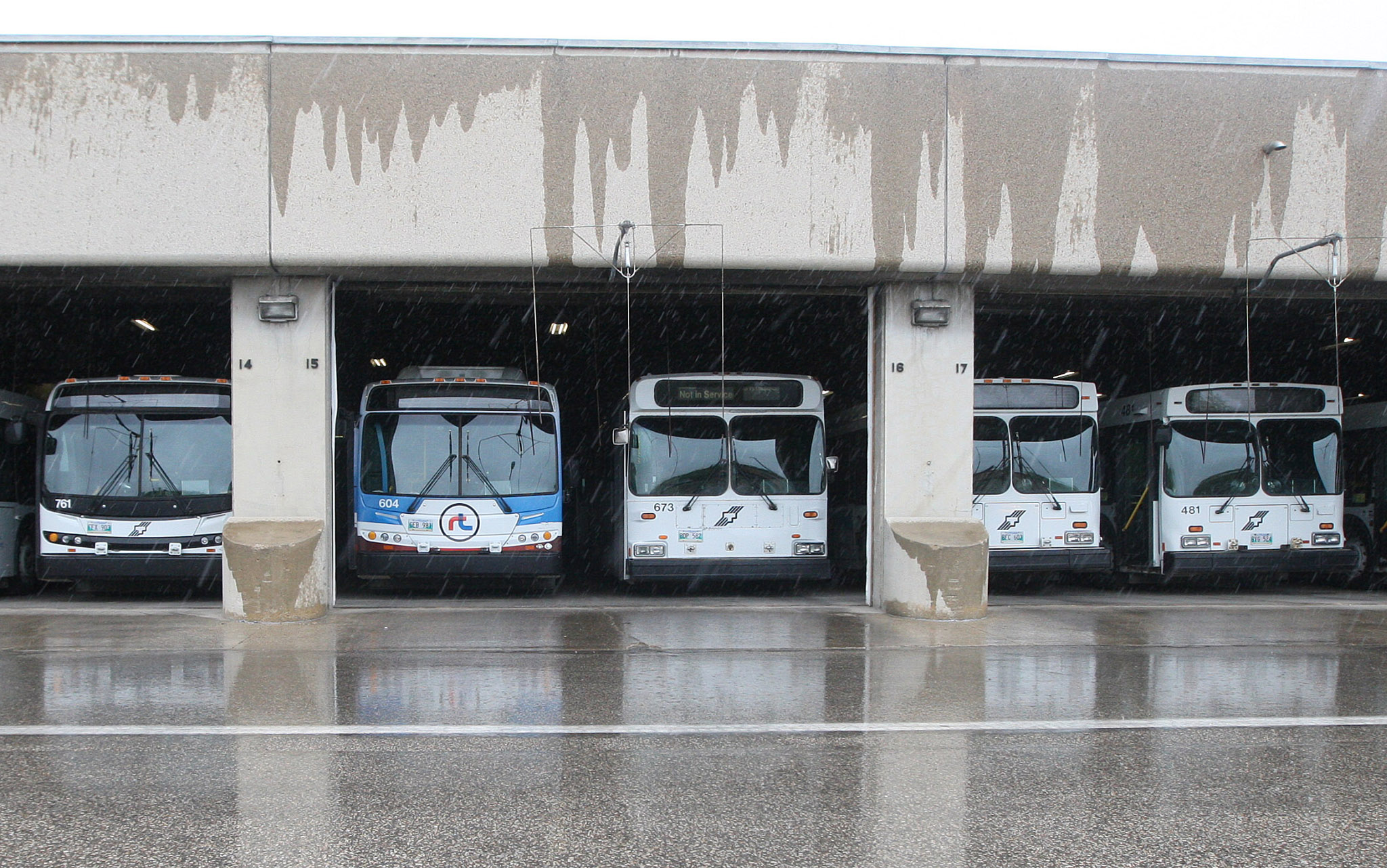 Winnipeg Transit buses ready to be deployed from the Osborne transit garage in a file photo.