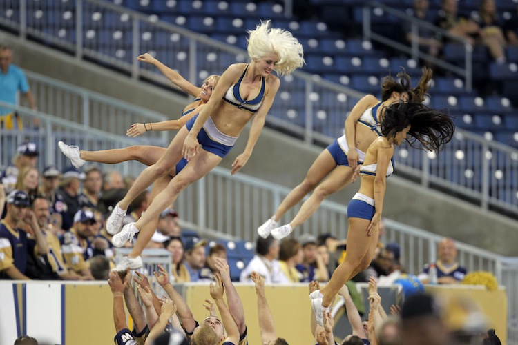 The cheerleaders were flying high Wednesday night. (BORIS MINKEVICH / WINNIPEG FREE PRESS)