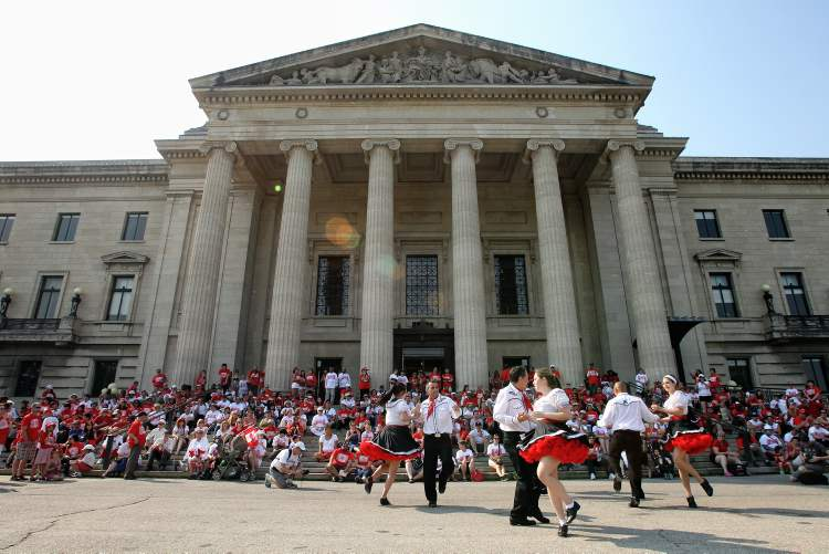 Norman Chief Memorial Dancers perform for the public during the Living Flag event Monday morning on the grounds of the Manitoba legislature. (Mike Deal / Winnipeg Free Press)