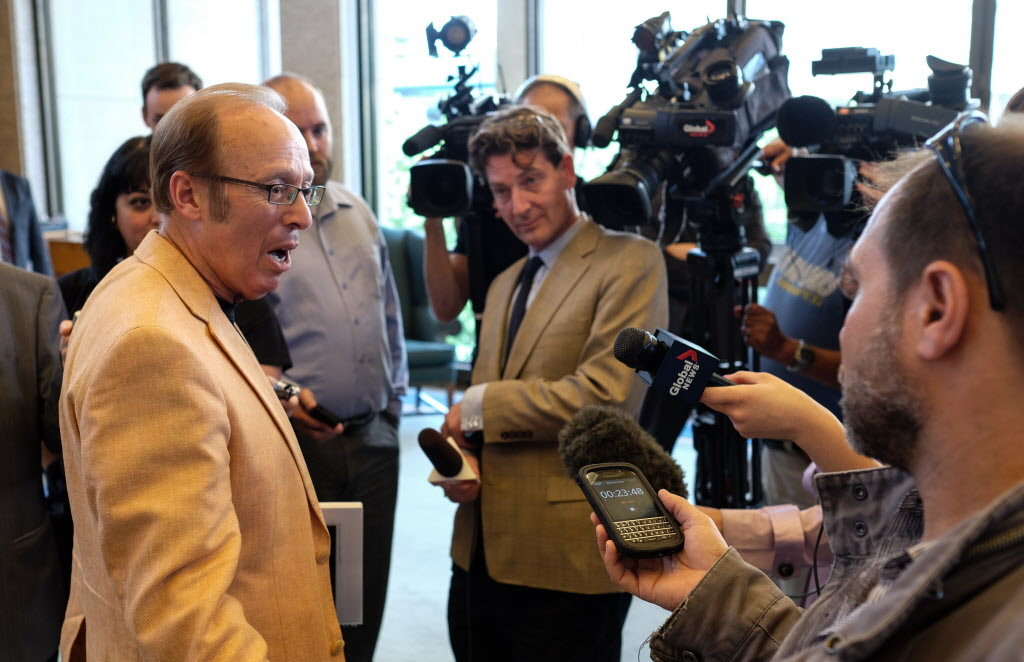 Winnipeg Mayor Sam Katz speaks to media Wednesday. He said he is very surprised the auditors did not interview ex-CAO Phil Sheegl or Shindico officials.