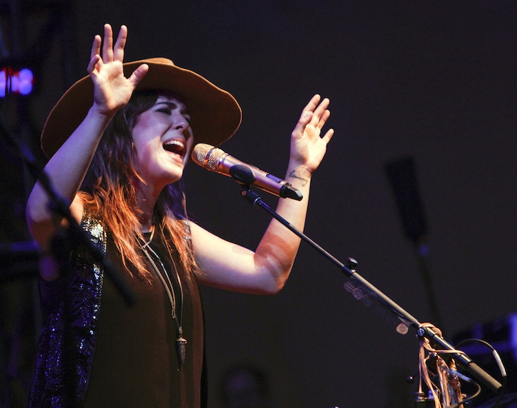 Ontario singer/songwriter Serena Ryder entertains the crowd from the main stage Thursday night at the Winnipeg Folk Festival.