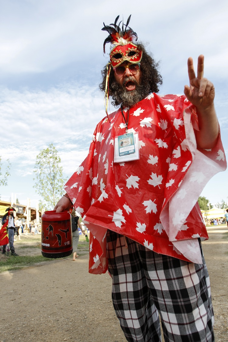 Tony DeRose has a different outfit for every day of the Winnipeg Folk Festival. He's been coming for the past 17 years. (JESSICA BURTNICK / WINNIPEG FREE PRESS)