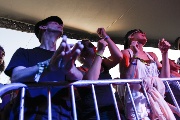 Fans rock out as Dr. Dog plays on the Big Blue stage Friday.