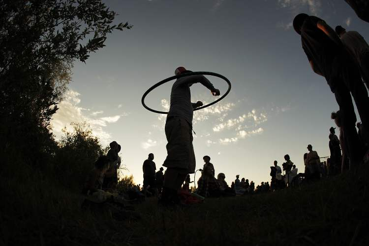 Hula hoops were popular at the Winnipeg Folk Festival.