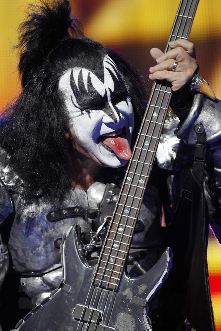 It's just not a Kiss slideshow without Gene Simmons playing bass with his tongue. (John Woods / Winnipeg Free Press)